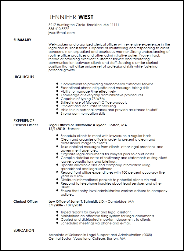 clerical resume samples 2016