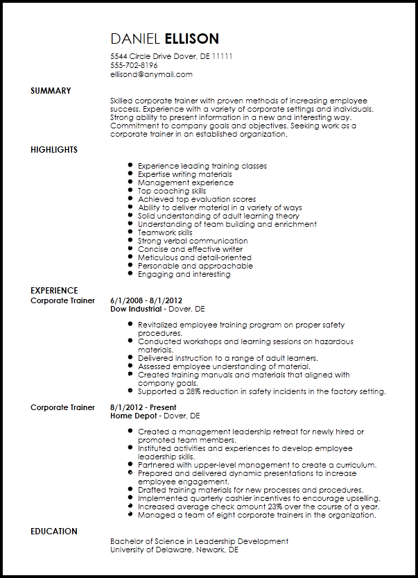 sample resume for corporate company