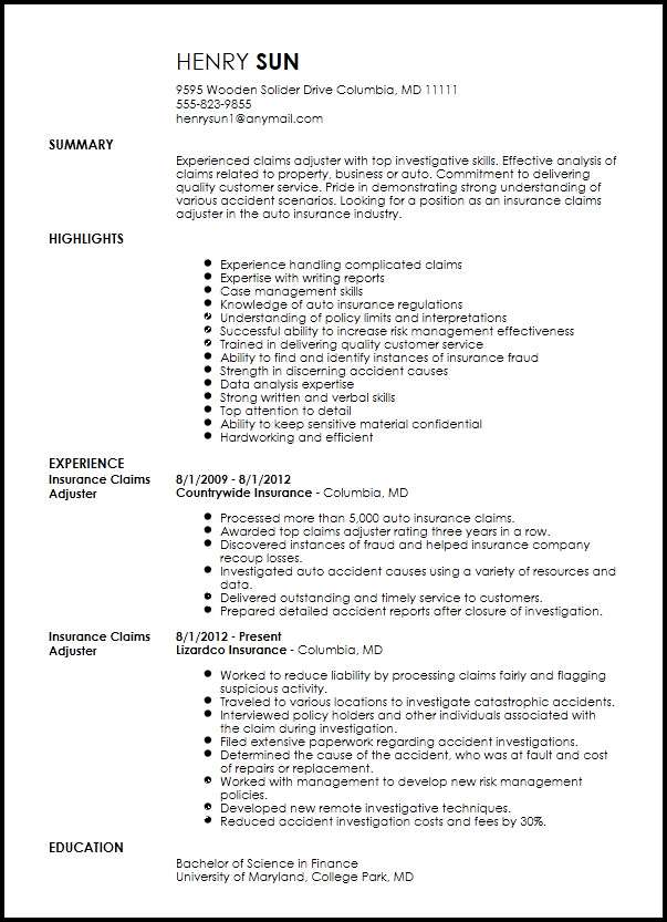 resume for claims adjuster