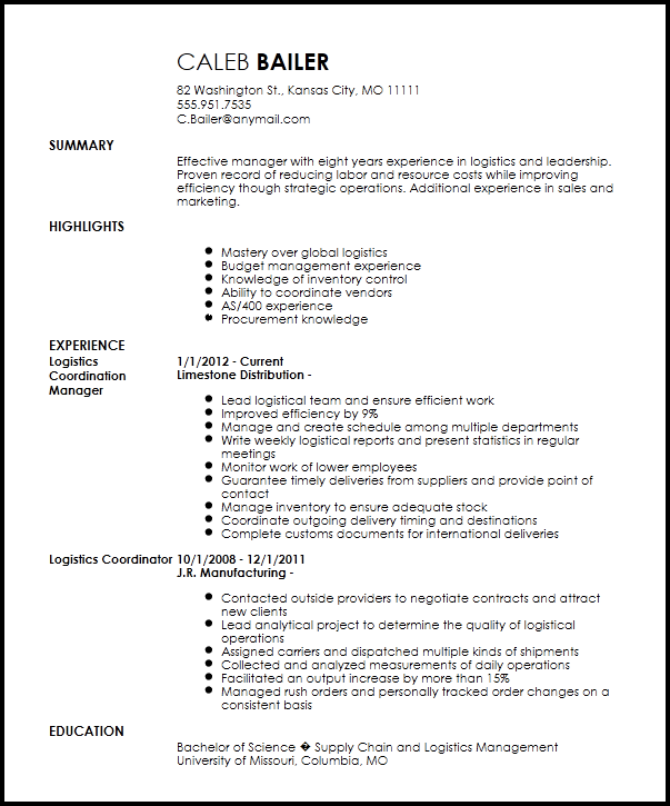 logistics coordinator resume example