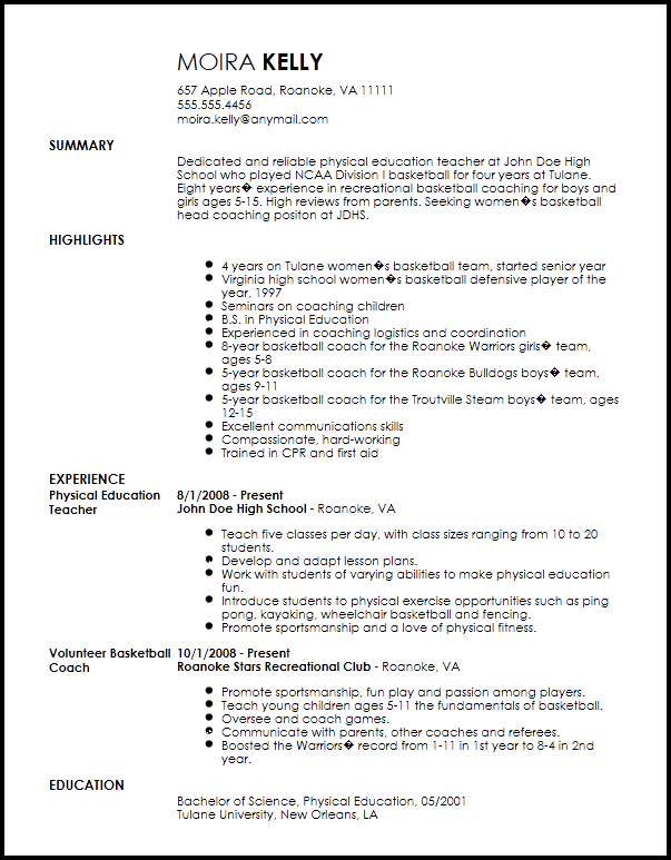 high school basketball coaching resume examples