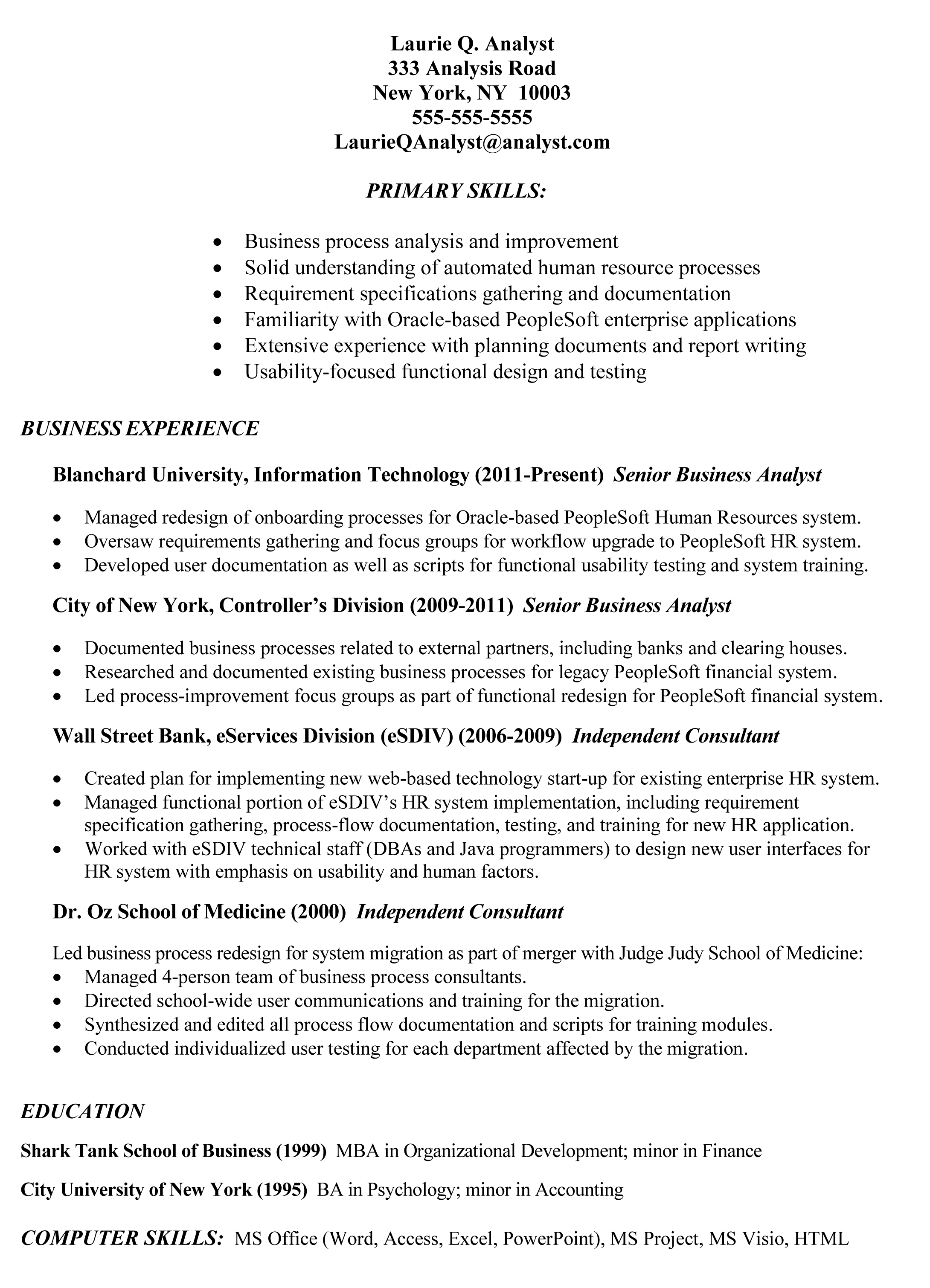 Resume Sample: Example Of Business Analyst Resume Targeted To The Job