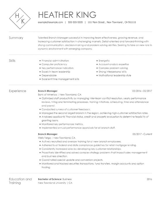 Resume Sample Key Skills