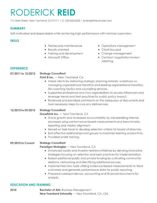 Resume Strategy Consultant - Resume Examples | Resume Template