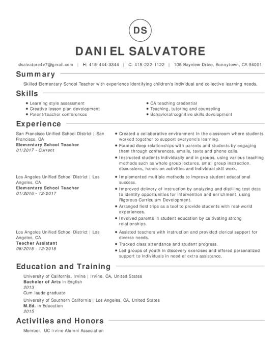 legal resume font