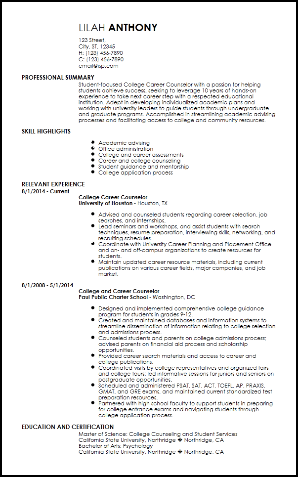 resume professional summary for students