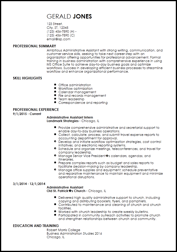 resume summary examples office administration