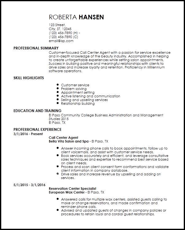 resume example for call center agent without experience