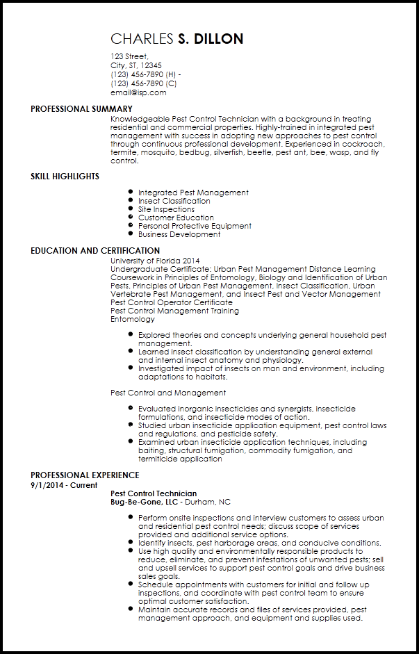 Free Entry Level Pest Control Resume Templates Resume Now