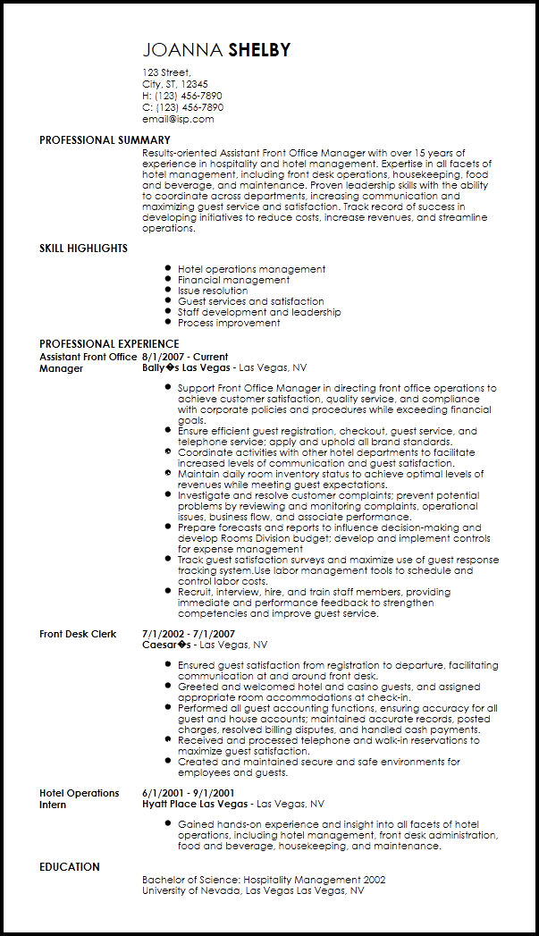 hotel front office manager resume examples