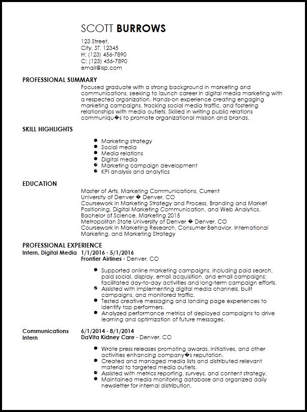 Free Professional Internship Resume Templates  ResumeNow