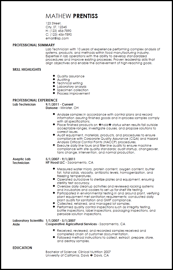 sample resume from a lab technician