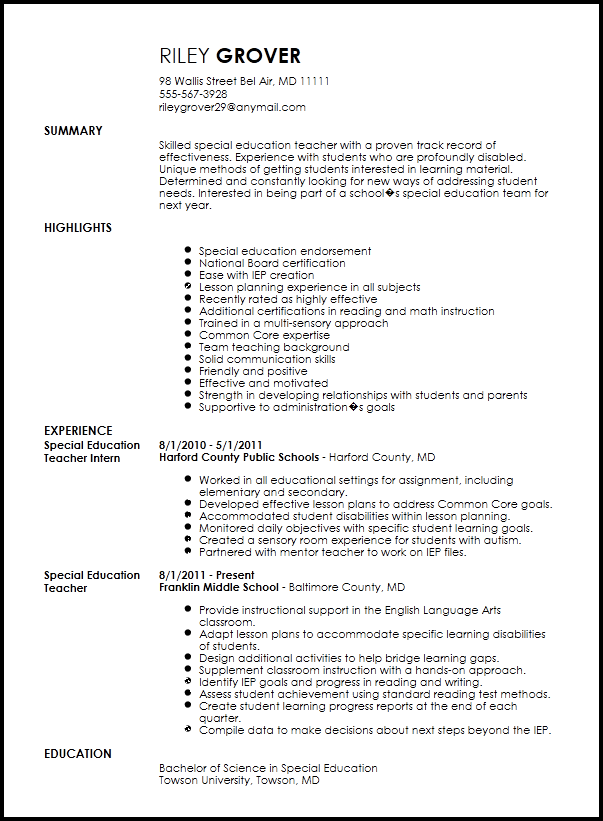 Free Professional Special Education Teacher Resume