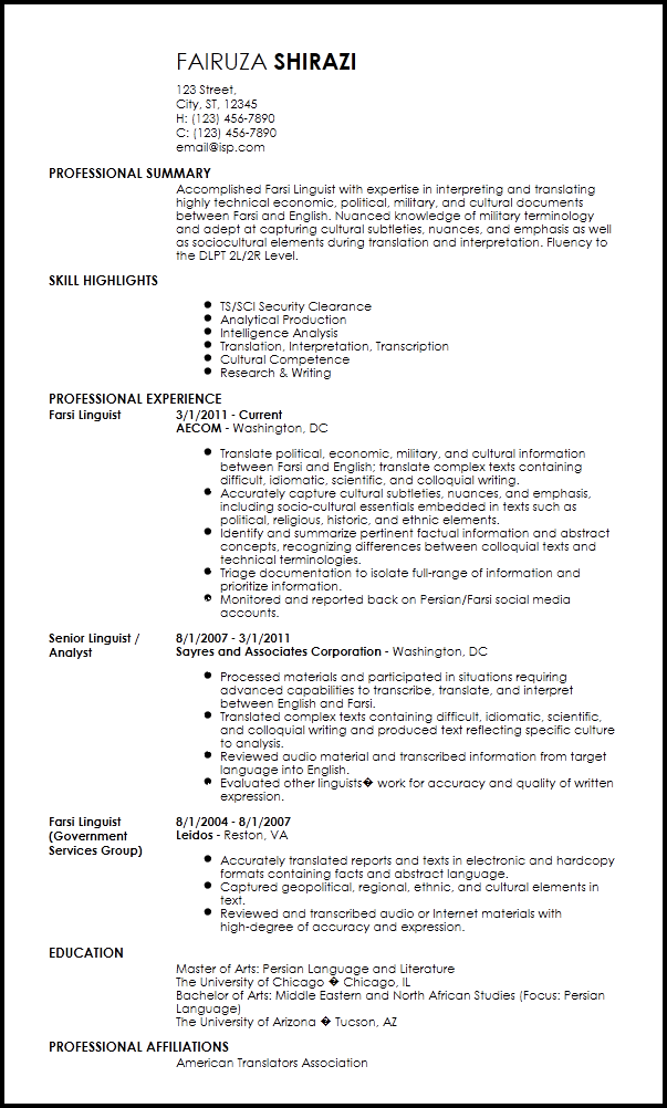 interpreter resume