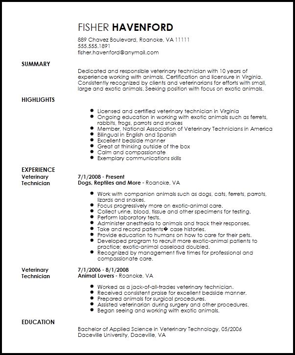 Free Professional Veterinary Technician Resume Template
