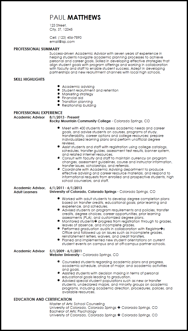 academic advisor resume