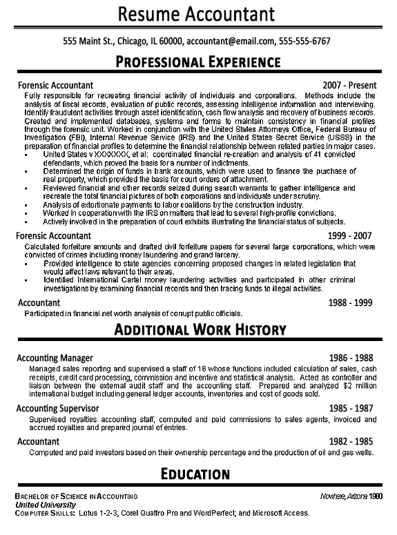 Accountant Resume Example Sample