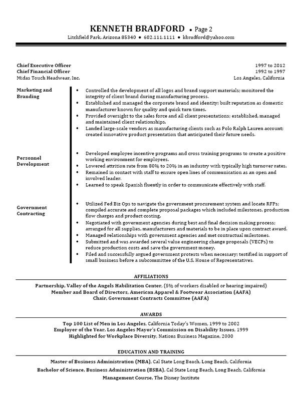 sample resume for cfo position