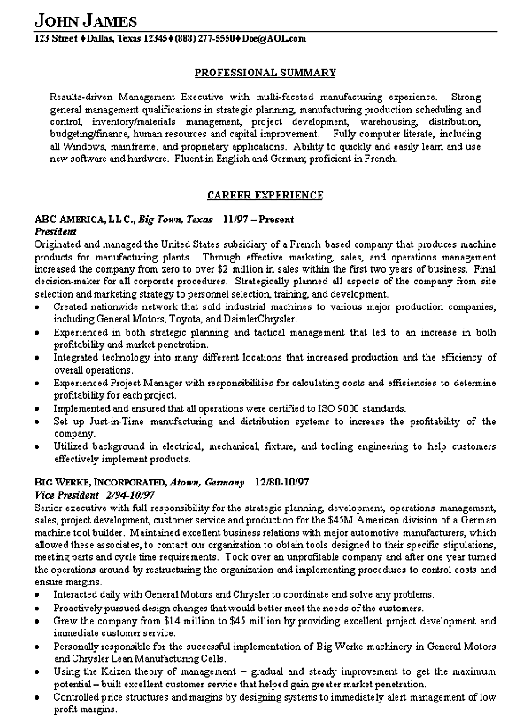 example manufacturing resume
