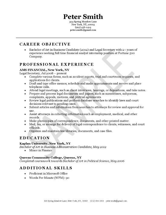 secretary resume objectives secretary resume sample resume for a - Sample Resume Summary For Secretary