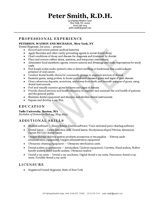 Dental Resumes Samples Dental Assistant Resume Sample Tips Resume