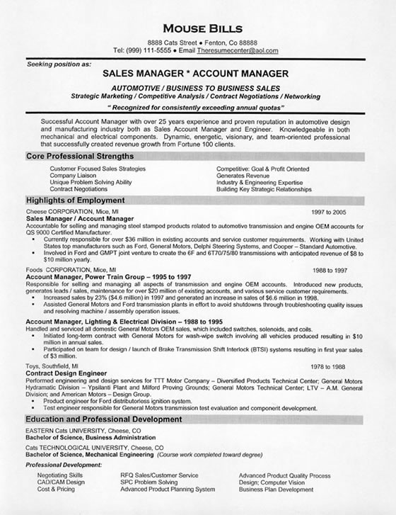 sales manager resume examples - Good Sales Resume Examples