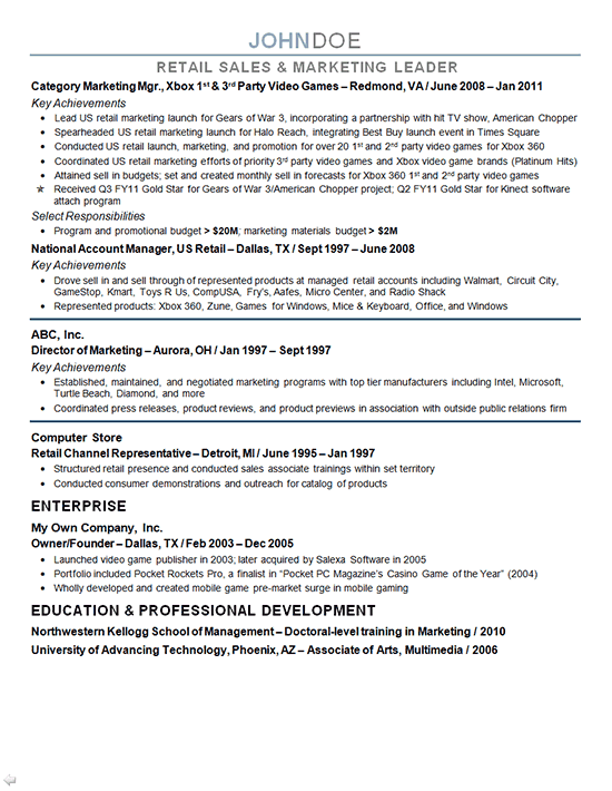 Marketing Director Resume Example