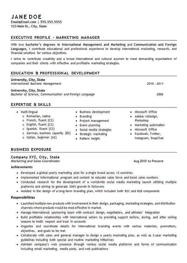 Marketing Manager Resume Example International Management