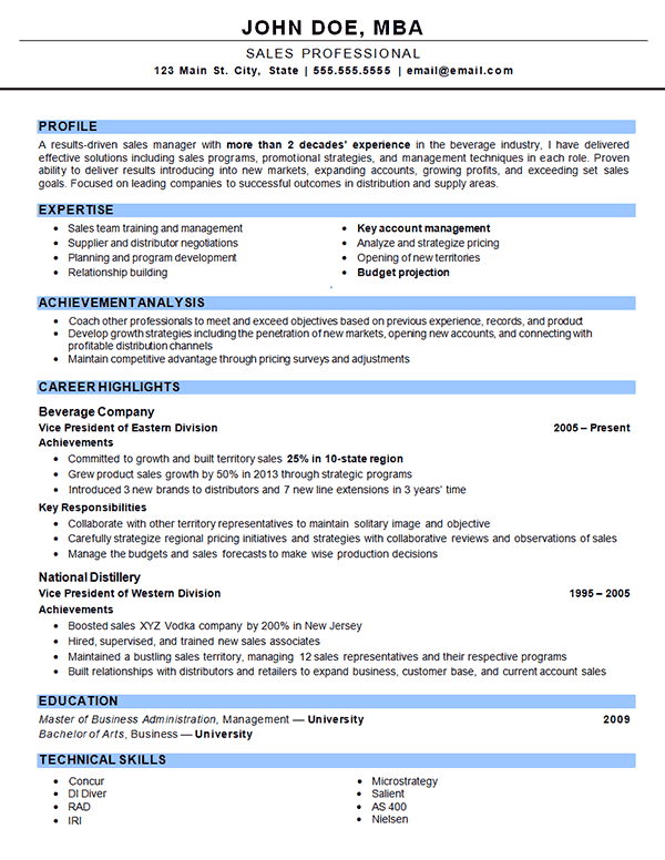 outside sales resume examples