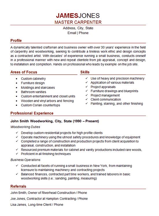 woodworker resume