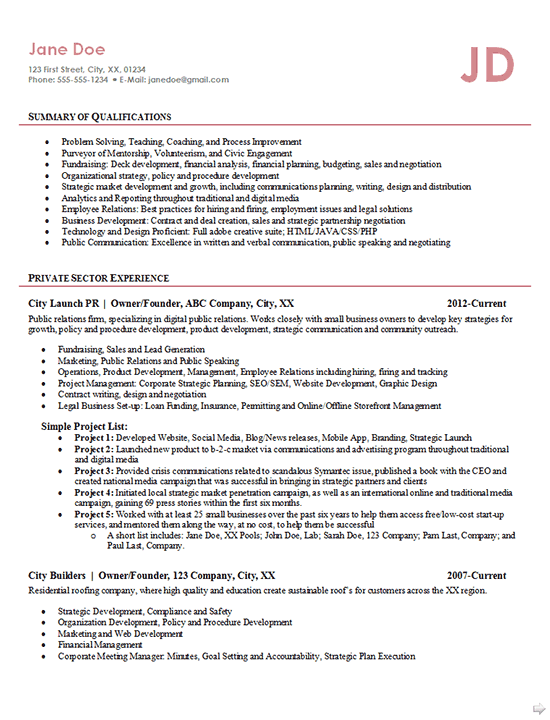 Entrepreneur Resume Example Business Owner Founder Public