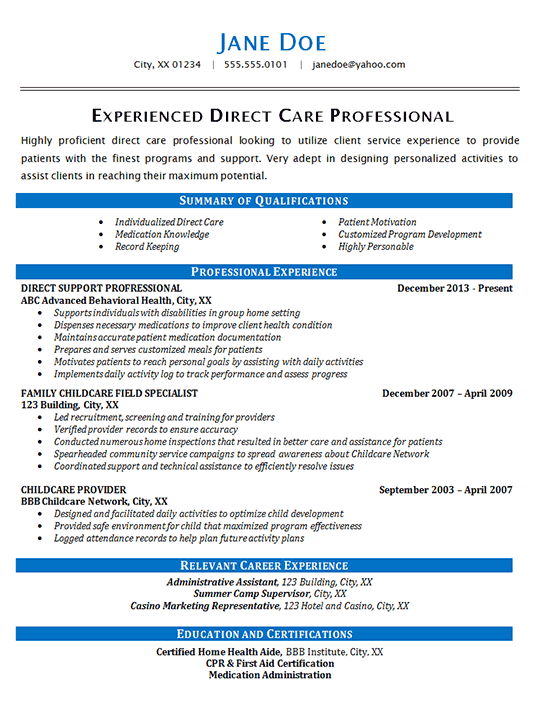 Direct Care Resume Example Health Care Patients