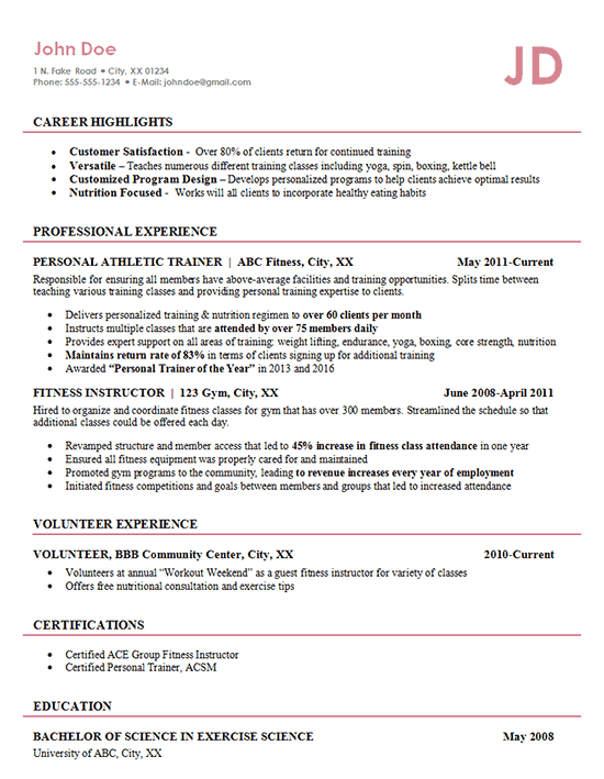 personal trainer resume objective statement