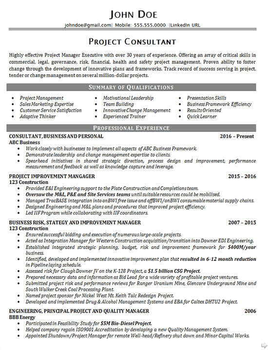 executive project consultant resume example business manager - Business Consultant Resume