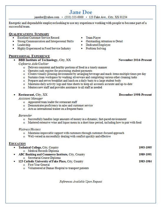 Restaurant Server Resume Example Cashier Bartender Waitress