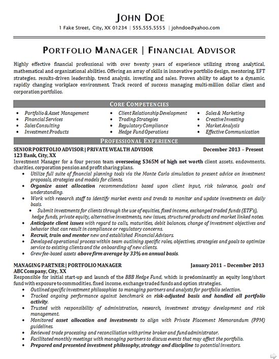 Portfolio Manager Resume Example Financial Advisor Asset