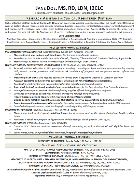 Dietitian Resume Template Dietitian Cv Sample Ability To Assess A