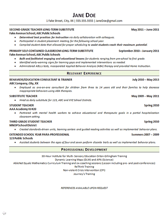 Special Education Teacher Resume Math Language Arts