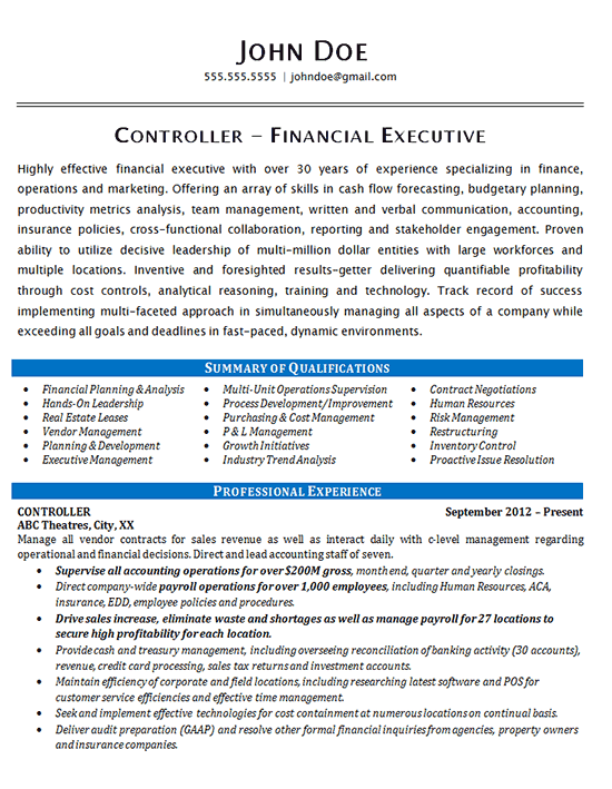 Controller Resume Example Financial & Operations Executive