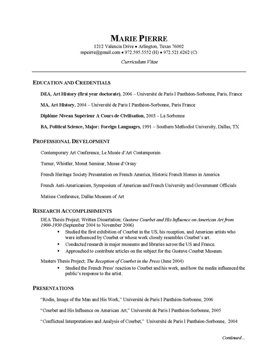 Researcher Cv Example