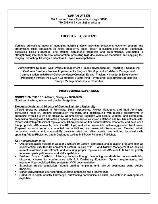 Executive Istant Resume Samples   Resume Executive Summary Resume Sample