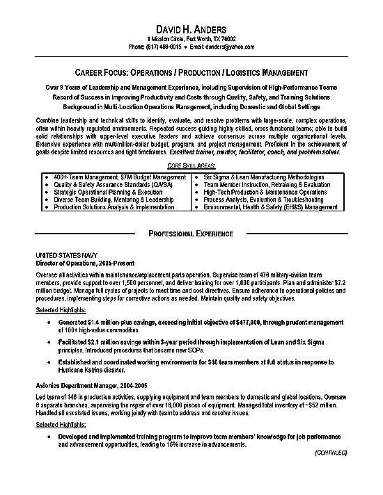 logistics director resume sample