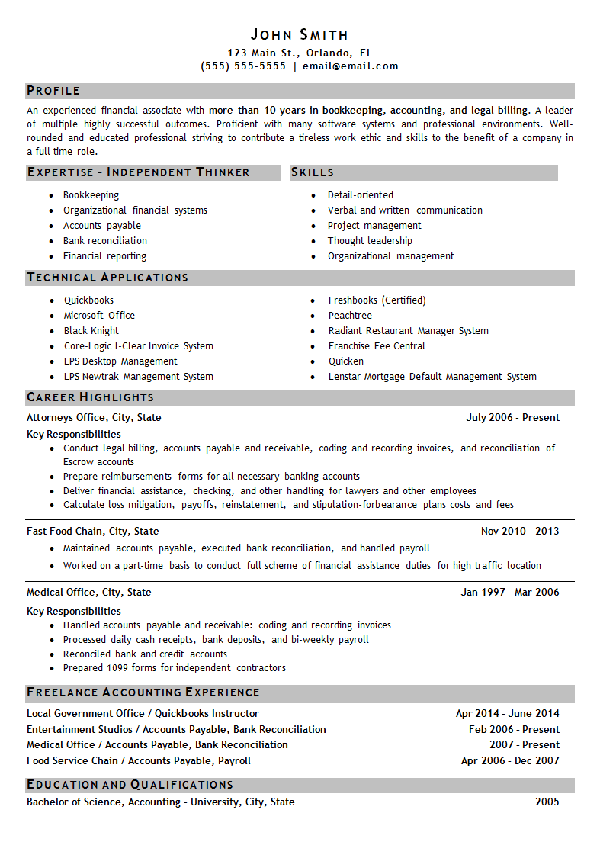 Bookkeeping Resume Example Accounting Finance