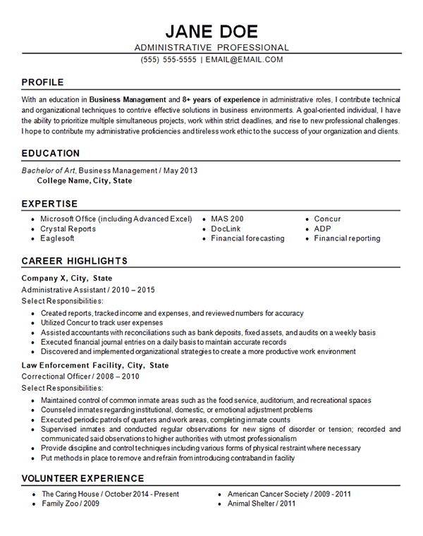 Administrative Resume Example  Business  Finance