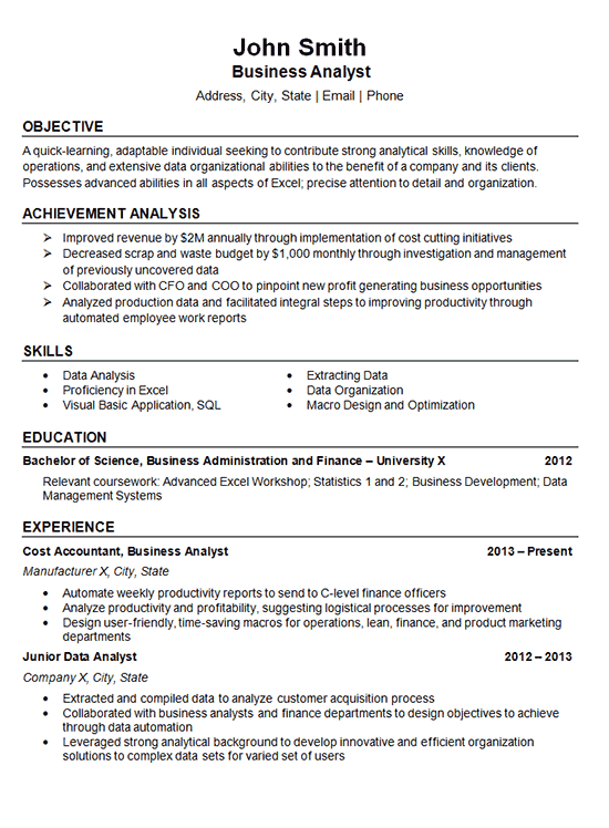 Data Analyst Resume Example  Business Finance
