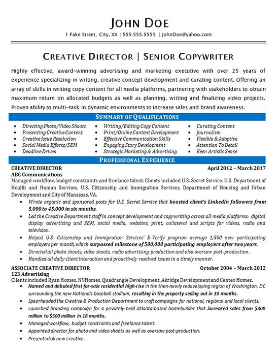 example of copywriter resume