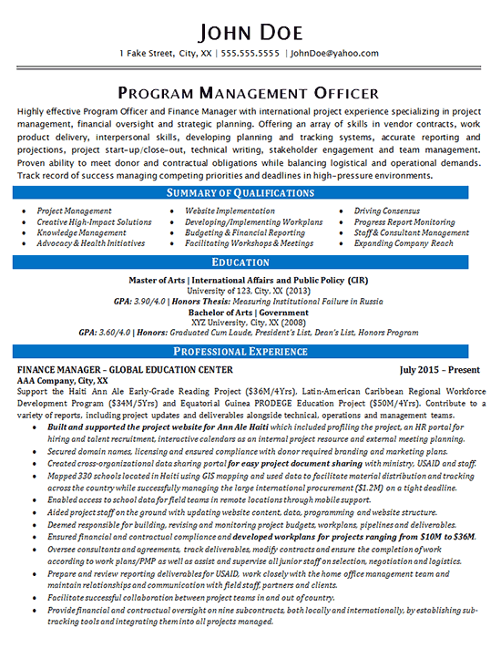 Program Manager Resume Example  Finance and Global Education