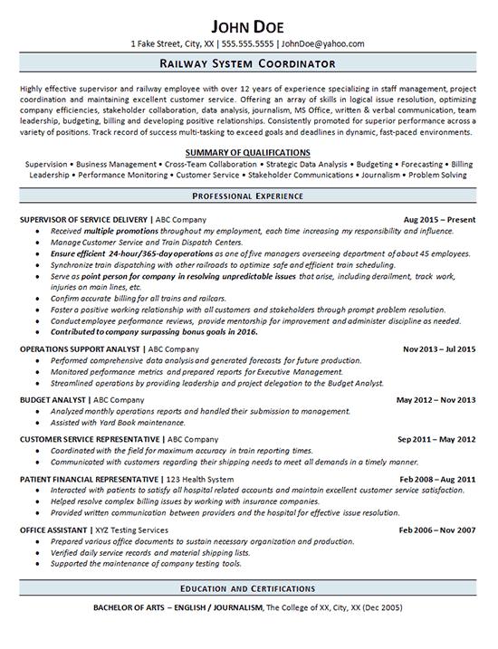 Railroad Resume Example  Railway Operations Service Supervisor