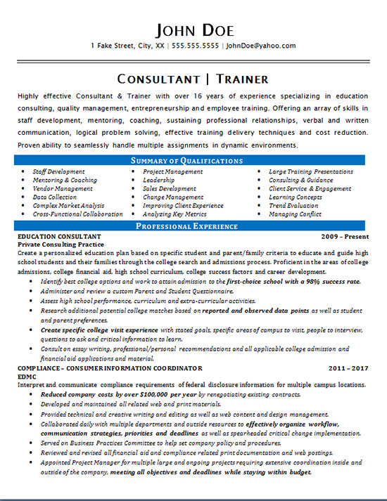 Consultant Trainer Resume Example  Education  Staff Development