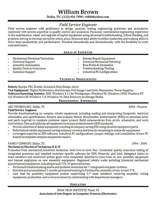 Field Service Engineer Resume Example